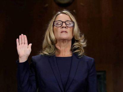 Christine Blasey Ford, el jueves en el Senado de EEUU.