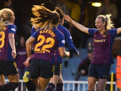 Las jugadoras del Barça celebran el pase a semifinales