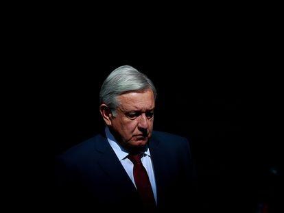 López Obrador, antes de dar su informe de este domingo, en Ciudad de México.