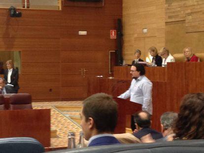 El diputado de Podemos Jacinto Morán hoy en la Asamblea.