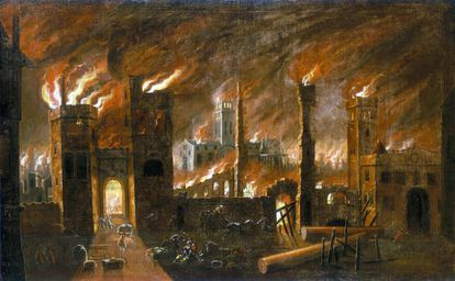 'El gran incendio de Londres, 1666' (c. 1675)