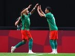 Tokyo 2020 Olympics - Soccer Football - Men - Group A - South Africa v Mexico - Sapporo Dome, Sapporo, Japan - July 28, 2021. Alexis Vega of Mexico celebrates scoring their first goal with Uriel Antuna of Mexico REUTERS/Kim Hong-Ji