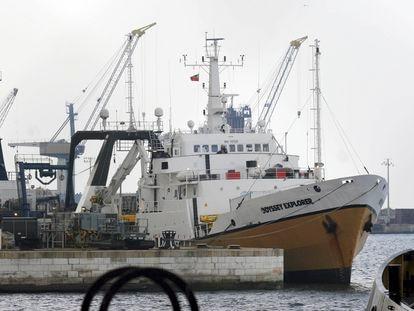 El buque 'Odyssey Explorer' de la empresa de exploración marina Odyssey, en el puerto de Gibraltar. en 2007