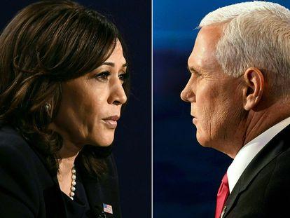 Un montaje con las fotografías de Kamala Harris, candidata demócrata a la vicepresidencia de EE UU, y de Mike Pence, su rival republicano.