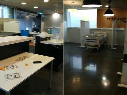 Imágenes a las que ha tenido acceso EL PAÍS de la preparación de la cafetería del hospital de Elche para acoger pacientes.