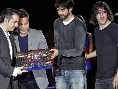Borregán, Tomás, Navarro y Puyol, capitanes del Barcelona, en 2013.
