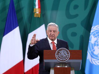 Andrés Manuel López Obrador durante la inauguración del Foro Generación Igualdad, este lunes.