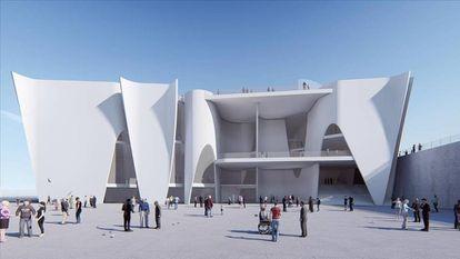 Fachada orientada al mar del proyecto de Toyo Ito para la sede del Hermitage de Barcelona.