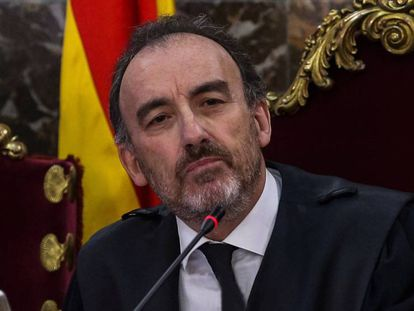 Manuel Marchena, durante una sesión del juicio al 'procés'. En vídeo, el perfil del juez.