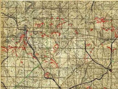 Hoja correspondiente al campo de batalla del Alto Tajuña al finalizar las operaciones de abril de 1938.