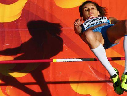 La saltadora rusa Anna Chicherova, en los Juegos de Pekín.
