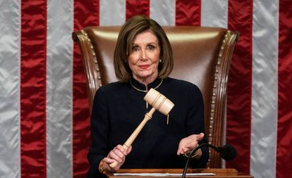 Nancy Pelosi, durante la sesión del 'impeachment' de Donald Trump.