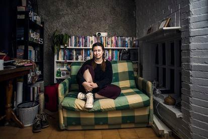 Marina Grandoso, en su casa de Getafe.