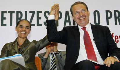Eduardo Campos y Marina Silva, este lunes en Brasilia.