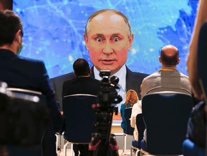 Putin en su tradicional rueda de prensa anual, este jueves.