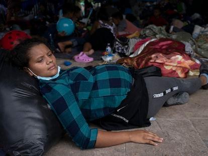 Una mujer de 20 años, embarazada de seis meses, en el campamento de migrantes de Reynosa, Tamaulipas, México.