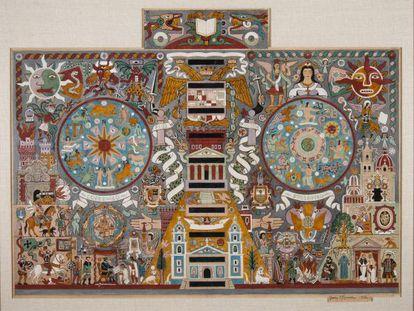 Boceto de Juan O'Gorman para el mosaico de la Biblioteca Central de Ciudad Universitaria (1952).