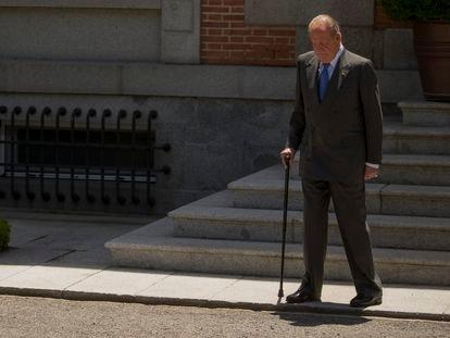 Juan Carlos I, en el Palacio de la Zarzuela el 9 de junio de 2014, durante sus últimos días como Rey.