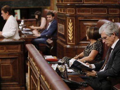 El secretario cuarto de la Mesa, el popular Adolfo Suárez Illana, lee un libro durante la intervención de la portavoz de EH Bildu.