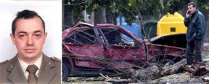 Luis Conde (izq) es el militar fallecido por el atentado en Santoña.- A la derecha, uno de los vehículos afectados por la onda expansiva del coche bomba