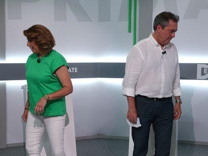 Susana Díaz y Juan Espadas en un momento del debate este martes en Sevilla.