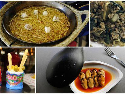 Arriba, arroz de puerros y rape para dos y detalle de arroz con verduras, en Berlanga. Abajo, ensaladilla rusa presentada dentro de una matrioska y mejillones en escabeche ahumado en Hermanos Vinagre.