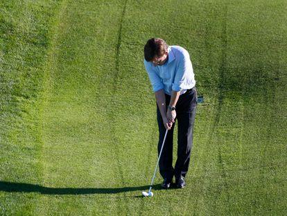 Jose Luis Martínez Almeida, durante la presentación del Open de Golf de España, este martes.
