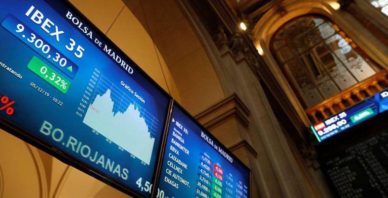 Vista del principal indicador de la Bolsa de Madrid, el Ibex 35.