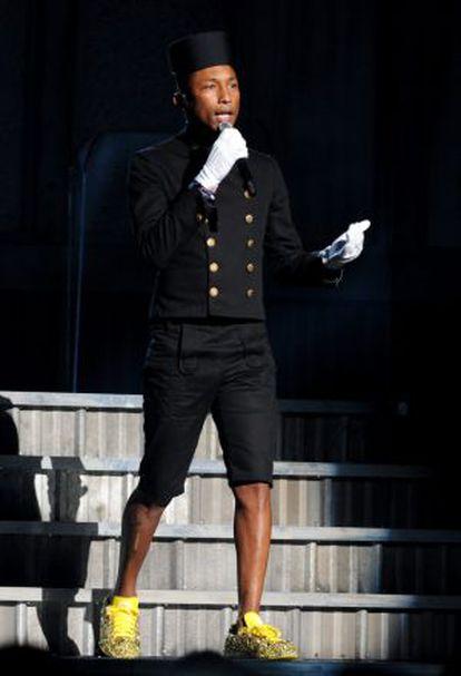Pharrell Williams durante la entrega de los premios Grammy.