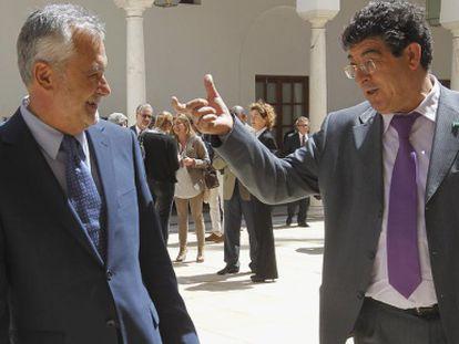 Griñán y Valderas, el pasado día 19, en el Parlamento.