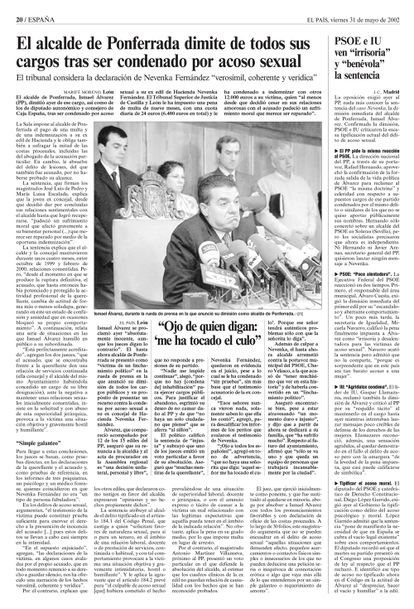 Página de El País donde se informa de la dimisión de Ismael Fernández, alcalde de Ponferrada, condenado por acoso sexual a la concejal Nevenka Fernández.