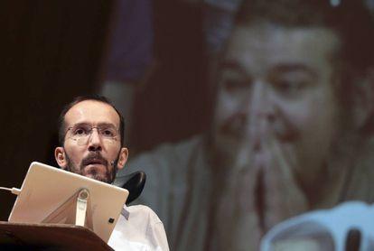 El secretario de Organización, Pablo Echenique, durante un acto del partido.