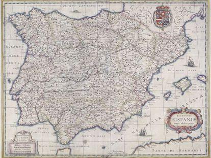Mapa de España publicado en Ámsterdam en 1631.
