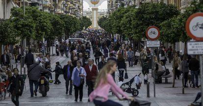 La calle sunción de Sevilla, ya peatonalizada, en una image de este lunes.