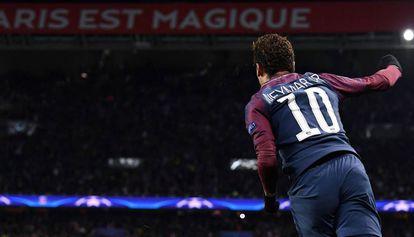 Neymar, en el partido del PSG ante el Celtic.