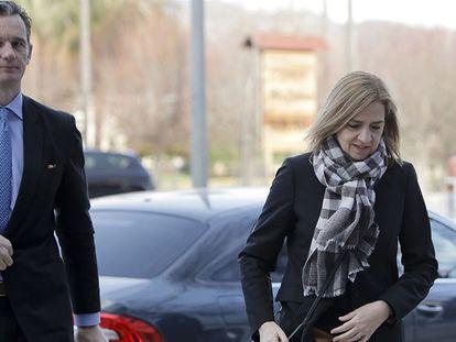 Cristina de Borbón e Iñaki Urdangarin, a su llegada a la Audiencia de Palma este jueves.