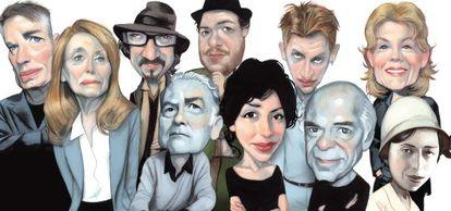 Caricaturas de escritores franceses. De izquierda a derecha: J. M. G. Le Clézio, Annie Ernaux, Atiq Rahimi, Patrick Modiano, Mathias Enard, Yasmina Reza, Jonathan Littell, Pascal Quignard, Fred Vargas e Irène Némirovsky.