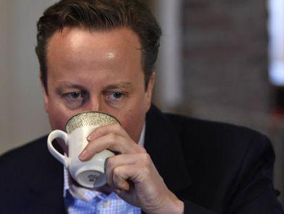 El primer ministro, durante un acto de campaña en Gales.