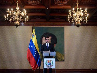 El ministro de Exteriores venezolano, Jorge Arreaza, este martes en Caracas. En vídeo, rueda de prensa del canciller venezolano.