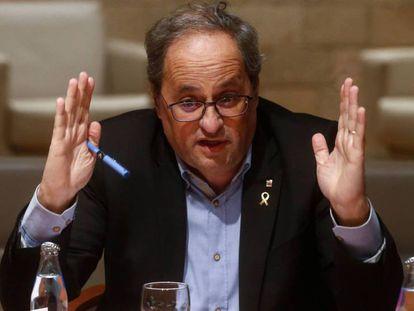 El presidente de la Generalitat, Quim Torra. En vídeo, división en el independentismo por la inhabilitación como diputado de Torra.