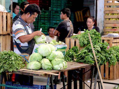 Vendedores de alimentos en Chiapas, México.