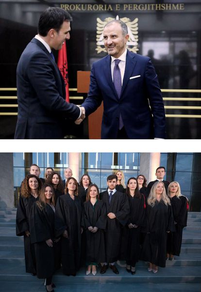 Arriba, el fiscal general de Albania, Olsian Çela, y el embajador de la UE Luigi Soreca. Abajo, jura de nuevos magistrados en julio de 2019 en Tirana.