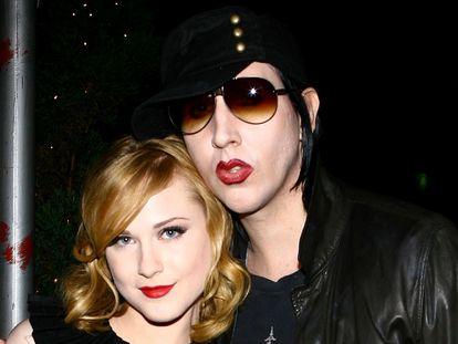La actriz Evan Rachel Wood junto al cantante Marilyn Manson, en una imagen de 2007.