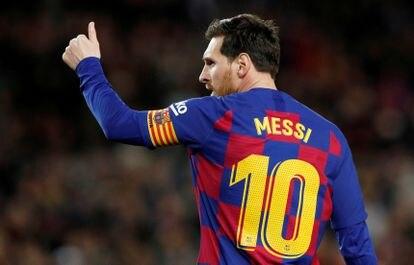 Messi, tras marcar un gol.