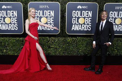 Nicole Kidman y su marido Keith Urban, en los Globos de Oro 2020.