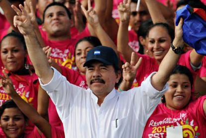 El presidente de Nicaragua, Daniel Ortega, se dirige a sus seguidores en julio de 2010.