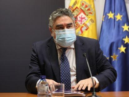 El ministro de Cultura y Deporte, José Manuel Rodríguez Uribes, durante la rueda de prensa de este viernes.