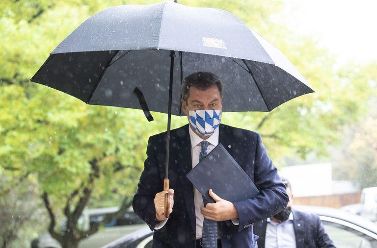 El jefe de Gobierno bávaro, Markus Söder, a su llegada a una conferencia de prensa en Múnich el martes.