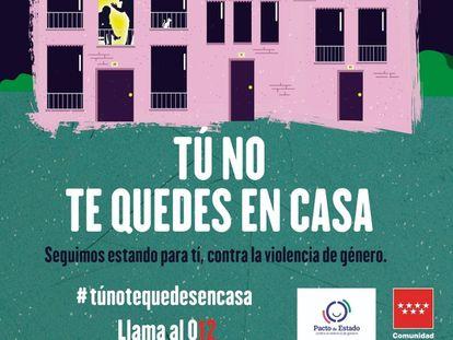 Detalle de la campaña de la Comunidad de Madrid durante el estado de alarma destinada a mujeres víctimas de la violencia de género.