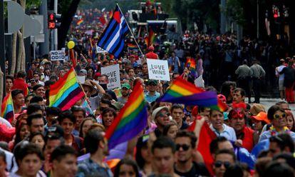 Una manifestación por los derechos LGTB.